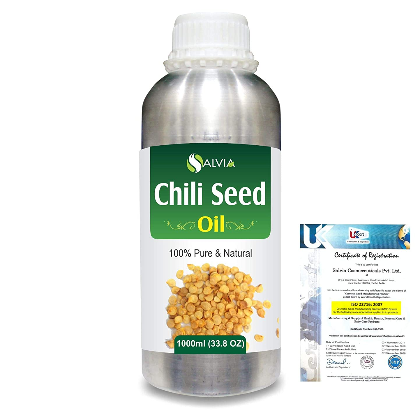 ピースフレームワーク適切にChili Seed (Capsicum annum)100% Natural Pure Carrier Oil 1000ml/33.8fl.oz.