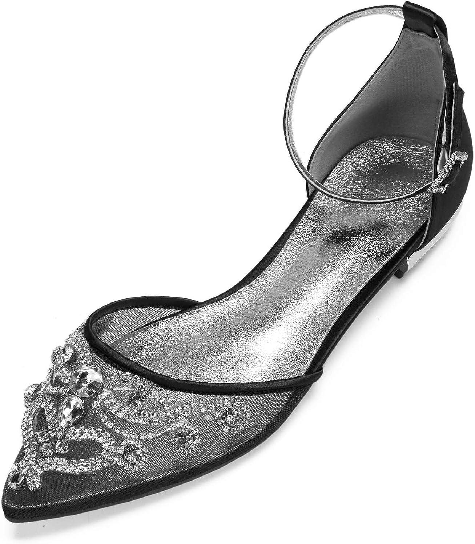 Charmstep 5047A-11 Frauen Braut Ballerinas Flache Pumps Spitz Zehe Satin Mesh D'orsay Knchelriemen Strass Kleid Party Hochzeit Schuhe