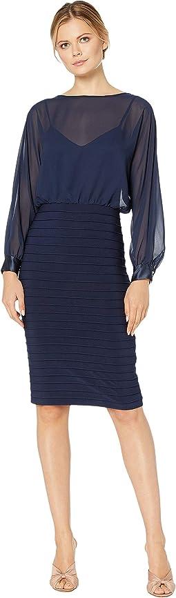 Matte Jersey Banded Chiffon Blouson Dress