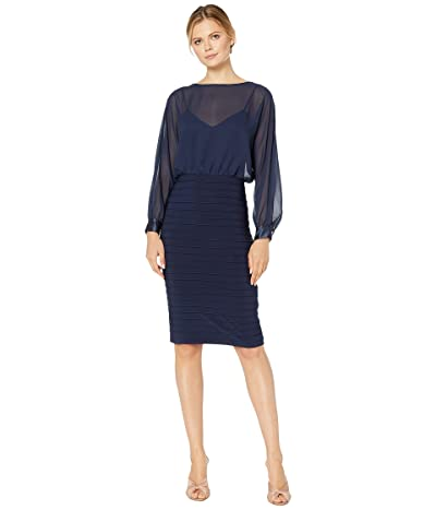 Adrianna Papell Matte Jersey Banded Chiffon Blouson Dress (Midnight) Women