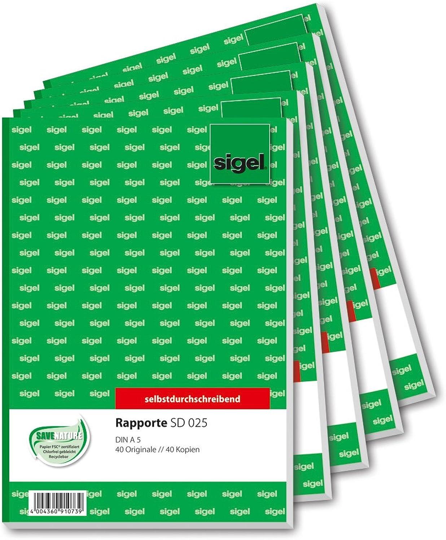 SIGEL SD025 5 Rapport Rapport Rapport A5, 2x40 Blatt, selbstdurchschreibend, 5er Pack B00IHJYAK2 | Bunt,  617021