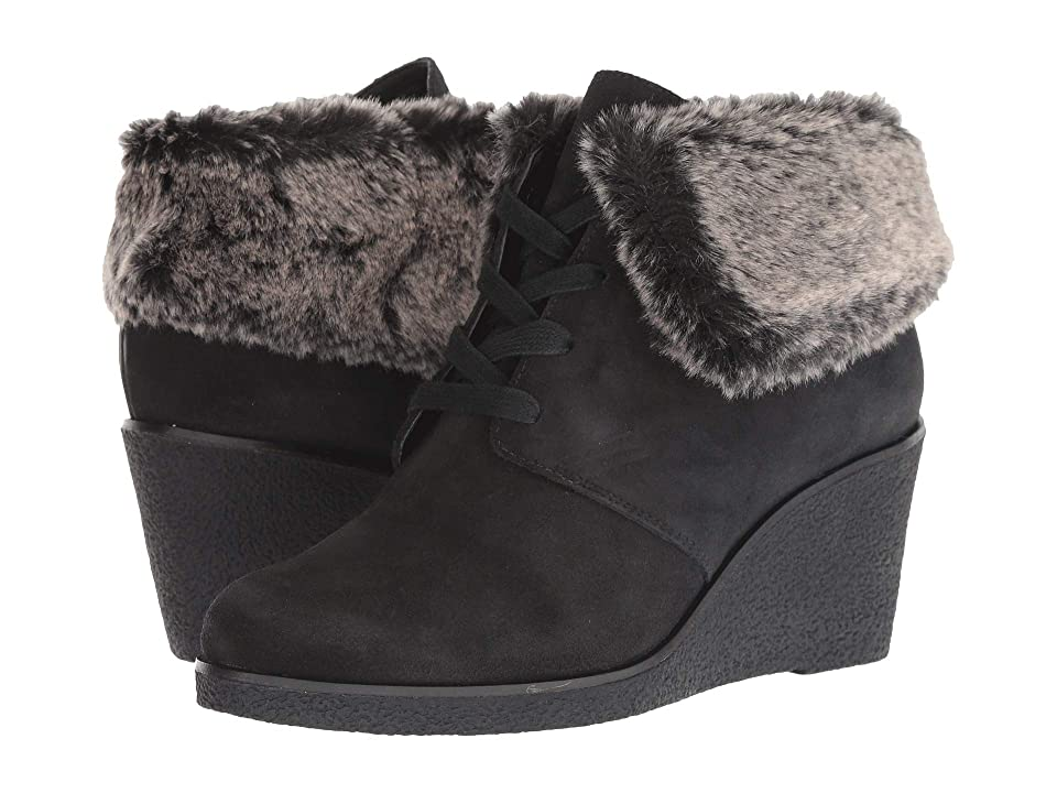 Cole Haan Coralie Wedge Bootie (Black Waterproof Suede) Women