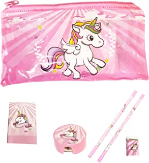 Unicorn Pencil case for Girls with Unicorn Stationary, Pencils, Eraser, Pencil Sharpener and Ruler