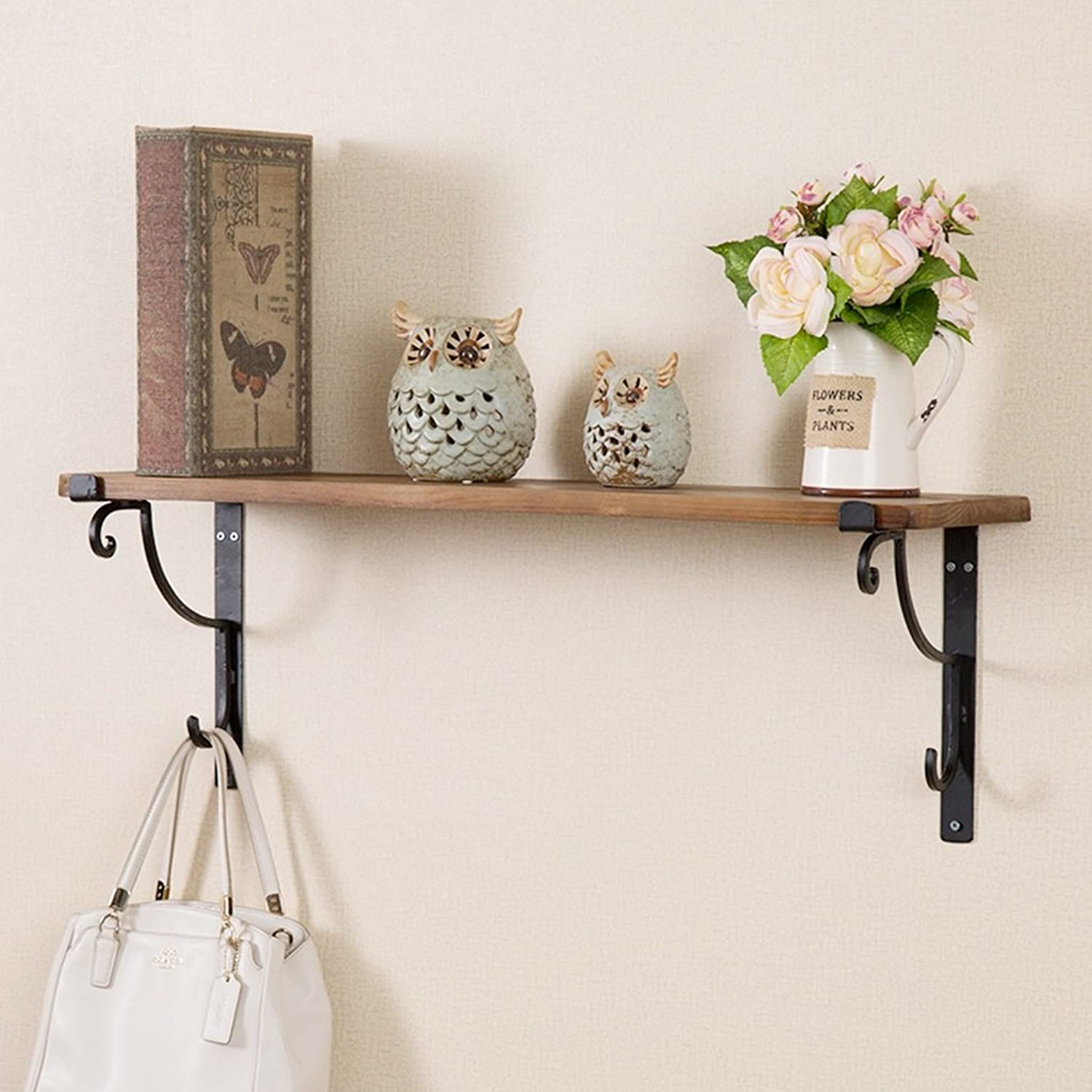 Kitchen & Dining Wall Shelves Retro Solid Wood Board Wrought Iron Wall Shelf Wall partition Frame Wall-Mounted Decorative Racks (Size   80X20X2CM)