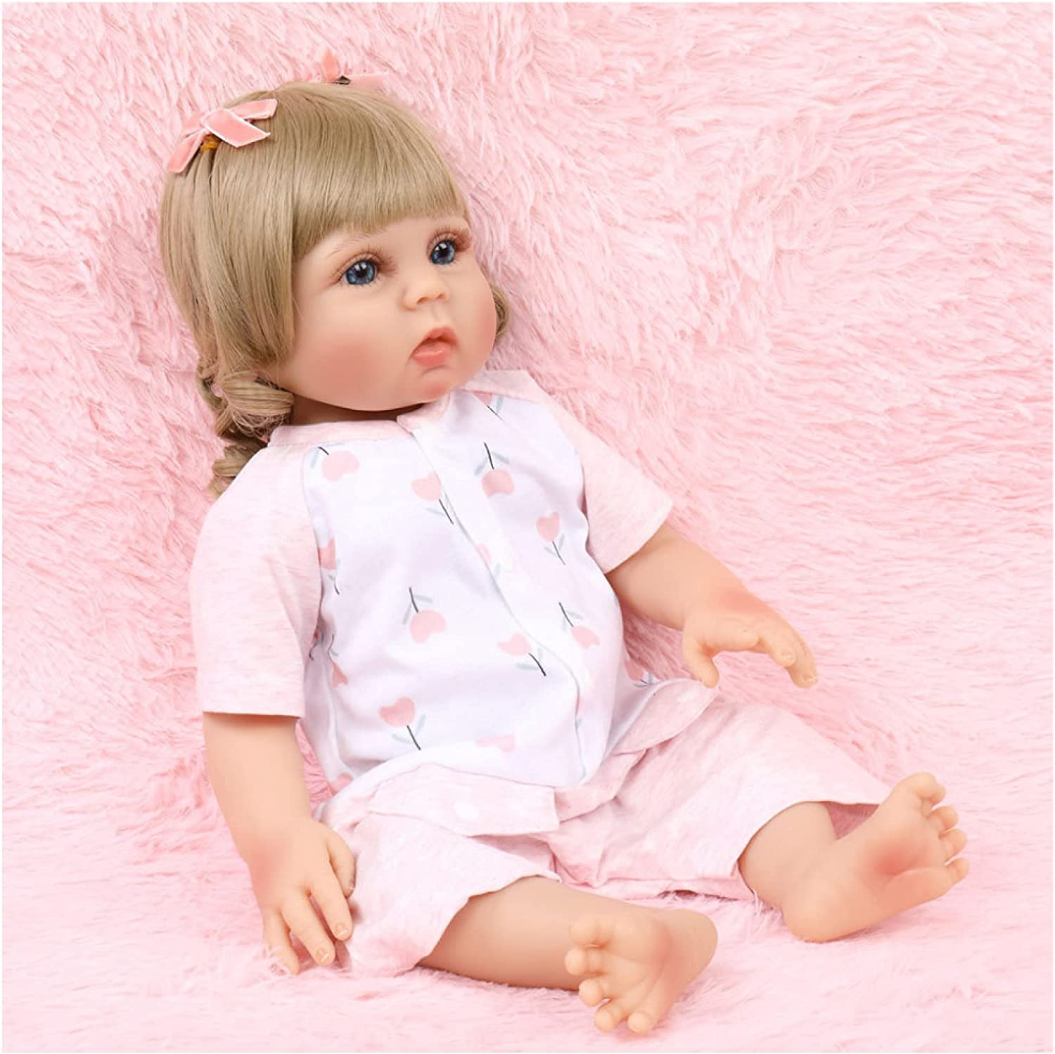 Low price YANRU Silicone Doll - 18in 46cm Newborn Blue OFFicial mail order Baby Eyes Ba