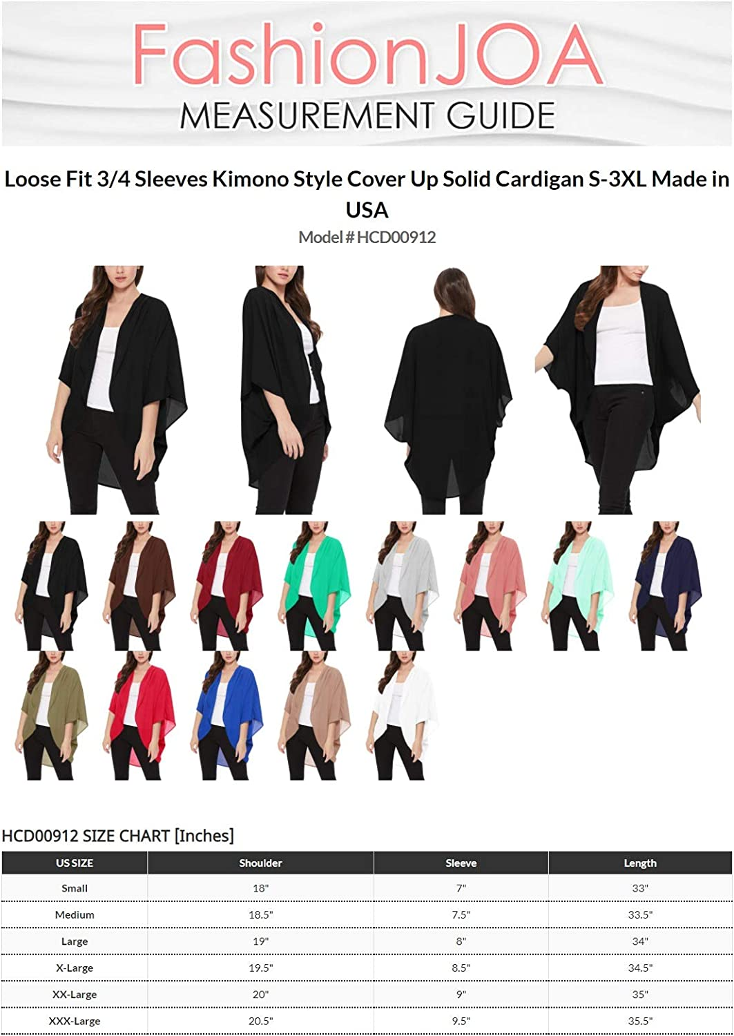 Women's Loose Fit 3/4 Sleeves Kimono Style Cover Up Solid Cardigan S-3XL Made in USA