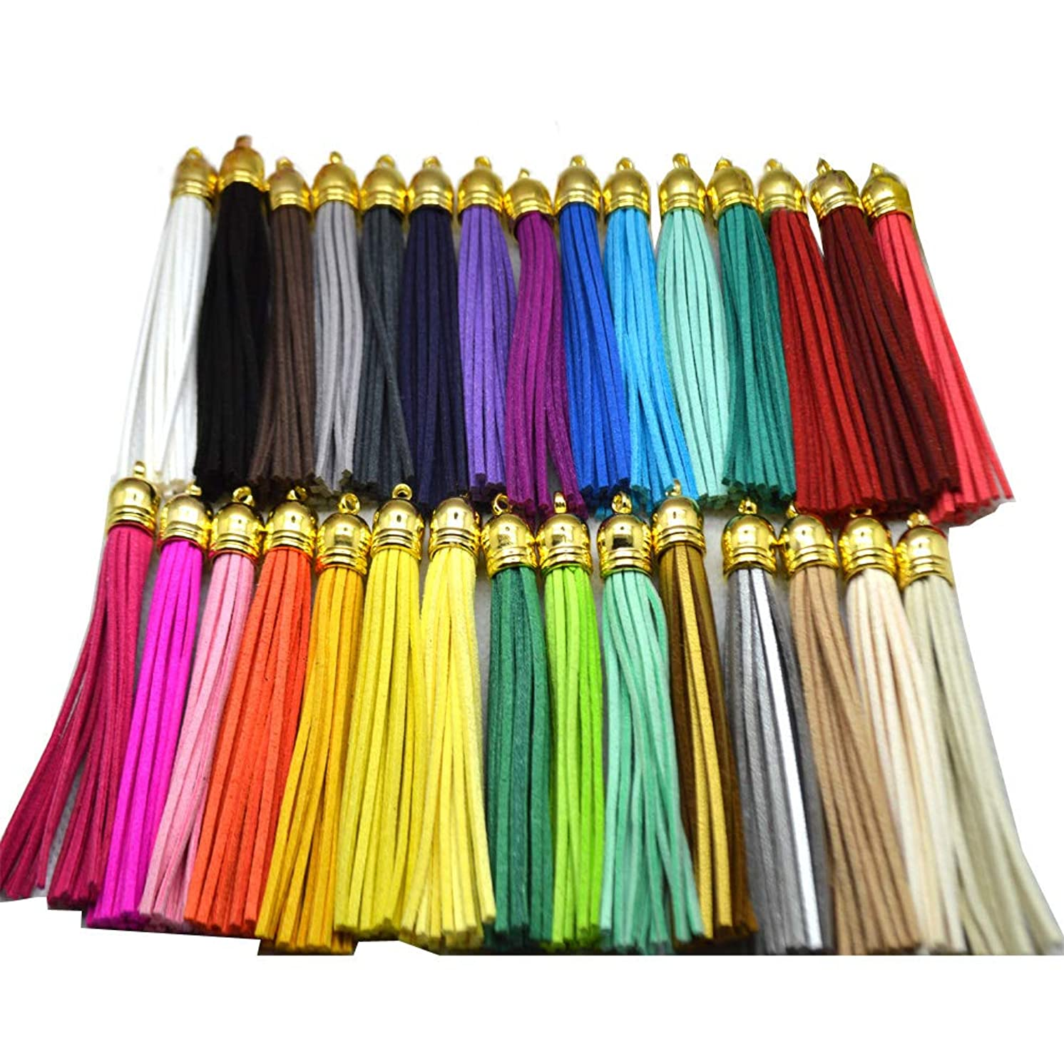 PAMIR TONG 30pcs/lot Leather Tassel Cell Phone Straps DIY Earring/Necklace Charms (Gold Caps)