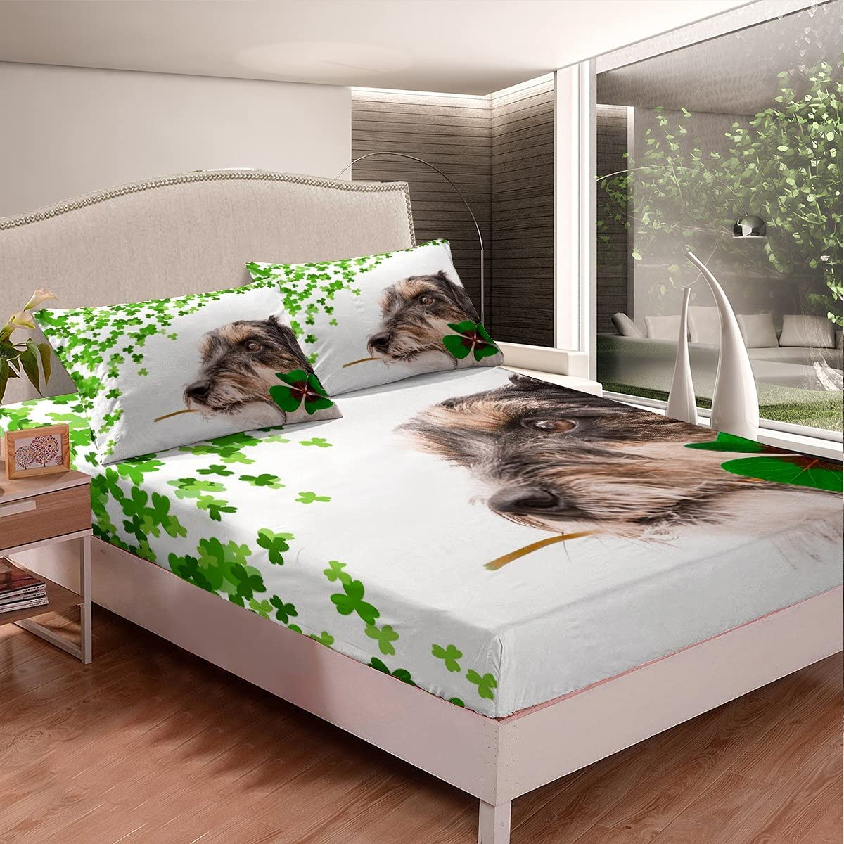 OFFicial site Feelyou Dog Printed Fitted Sheet Cute Bedding Pet for Ranking TOP12 Ki Set