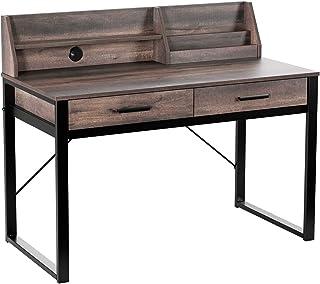 HOMECHO Table Informatique Bureau Informatique avec de Nombreux Rangements Table d'Ordinateur Style Industriel pour Burea...