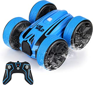 Amphibious Remote Control Car , Perkisboby 2.4GHz Waterproof Off Road Truck, 4WD Electric Double Sides RC Stunt Boat Gifts