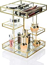 Dawoo Makeup Organizer Antique Countertop Cosmetic Storage Box Mirror Glass Beauty Display, Gold Spin Large Capacity Holde...