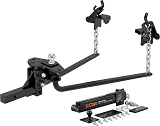 CURT 17222 Round Bar Weight Distribution Hitch with Sway Control Black Up to 14,000 lbs, 2-Inch Shank, 2-5/16-Inch Ball