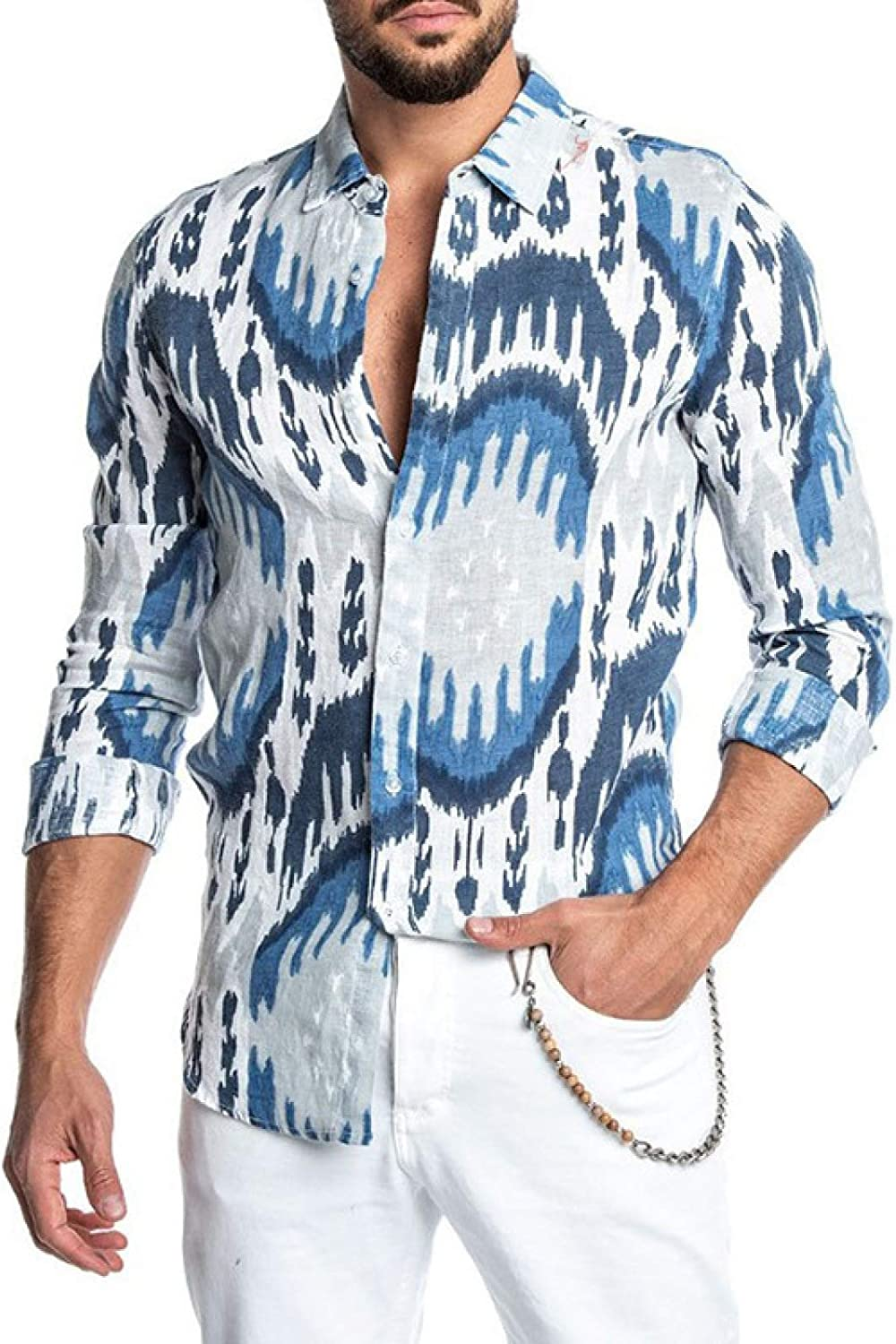 Zestion Men's Shirts Max 83% OFF Gentleman Printing Personality Max 72% OFF Lapel Long-S