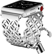 VIGOSS Jewelry Metal Bangle Compatible with Series 4 Apple Watch Band 38mm/40mm Men Women Luxury Cuff Bling Hollow Hoop Bracelet Stainless Steel Strap for iWatch Series 4/3/2/1 Window Grille Silver