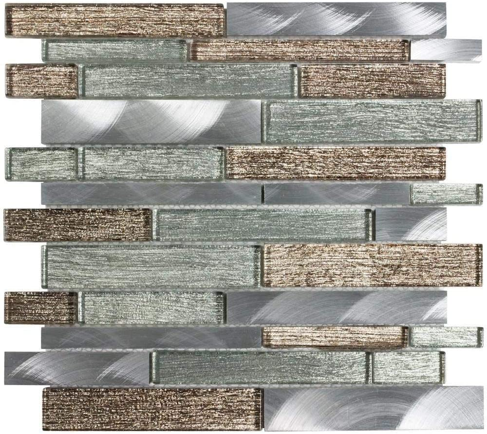 Mto0206 Linear Bronze Brown Green Glossy Metallic Glass Metal Foil Mosaic Tile Amazon Com