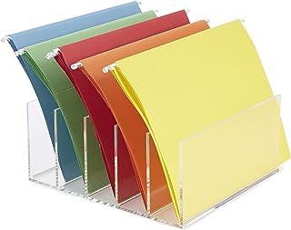 Mind Reader A5CFILE-CLR 5 Compartment Vertical Holder, Clear Acrylic, Folder, Desktop File Sorter Organizer