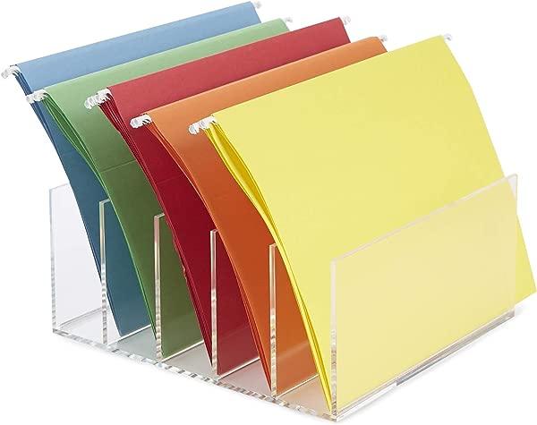 Mind Reader A5CFILE CLR 5 Compartment Vertical Holder Acrylic Folder Desktop File Sorter Organizer Clear