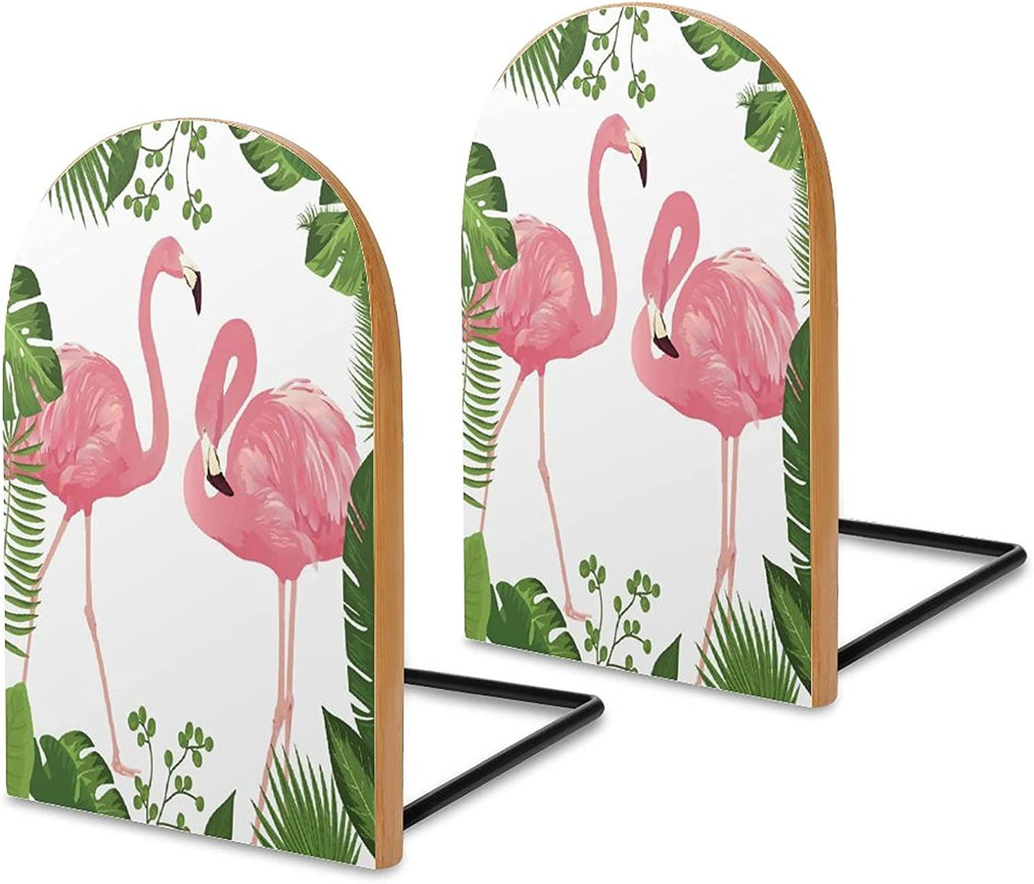 shopping Flamingo-Tropical-Leaves-Frame Bookends for Wood Shelves Bombing new work Sapele