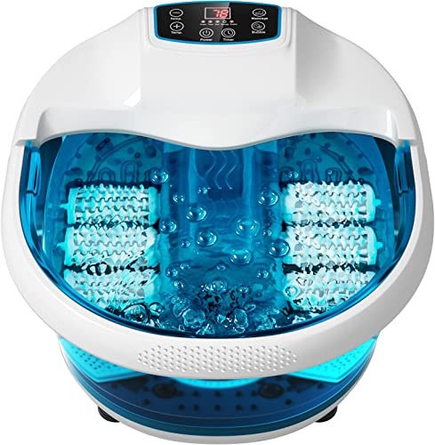 high quality Giantex Foot Spa Bath sale Massager with Heat Bubbles, 6 Motorized Massage Rollers, Fast online Heating, Red Light, Adjustable Temperature & Time, Foot Bath Massager Tub Foot Spa Soaker for Feet Relief (Blue) online sale