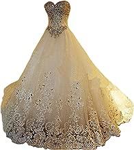 Yuxin Luxury Sweetheart Crystal Beaded Wedding Dress Princess Long Train Lace Ball Gown Bridal Dresses