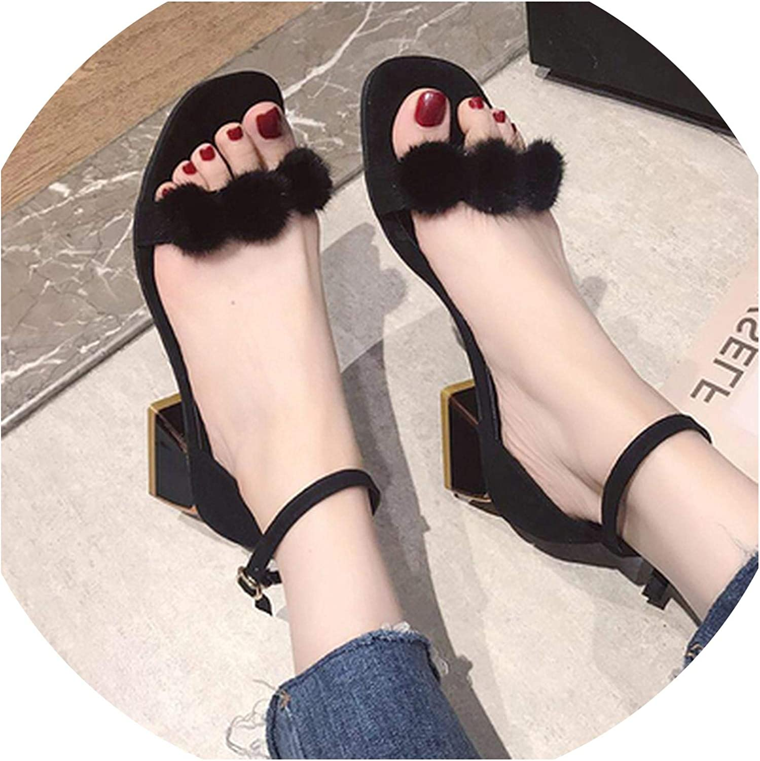 2019 New Word with Sandals Female Fairy Wind high Heels Summer Thick with Gentle Women's shoes with Hair Balls