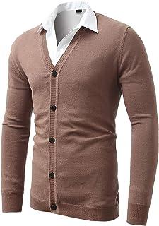 pipigo Men Basic Stand Collar Long-Sleeve Pure Color Button-Down Shirt