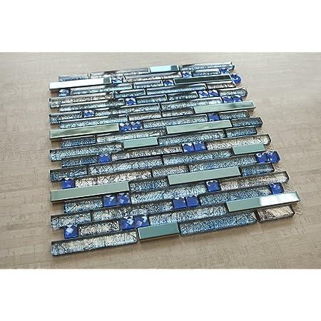 Blue Diamond Pebbles Glass Tile Frosted 1 Sheet, Blue Diamond