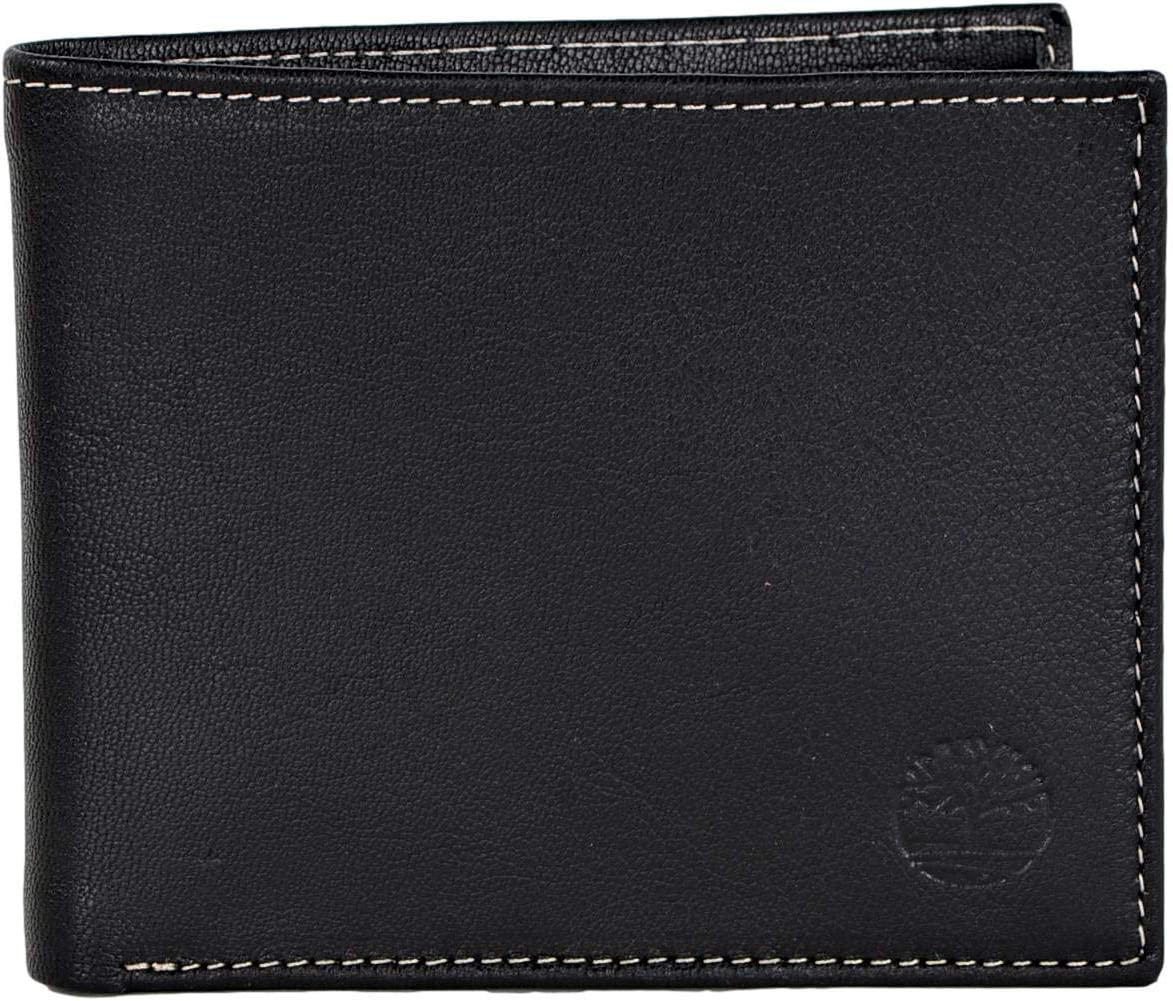 Timberland GT SKN Men's Leather Passcase Wallet with Attached Flip Pocket Black