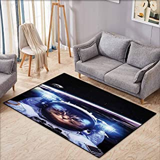Anti-Static Rug Cat Funny Astronaut Cat Above Earth in Outer Space Explorer Kitty Mission Humor Image Blue White Super Absorbent mud W4'9 xL3'9