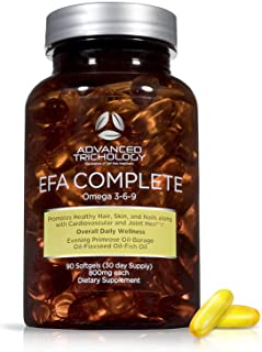 EFA Complete with Optimal Omega 3 6 9 Levels of High Potency Flax Oil, Fish Oil, Borage Oil, and Evening Pr...