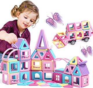 HOMOFY 90PCS Castle Magnetic Blocks Toys Magnet Tiles -3D Macaron Colors Learning & Development Building Blocks Figure Kits Toys for 3 4 5 6 Year Old Girls Boys Toddlers Gifts