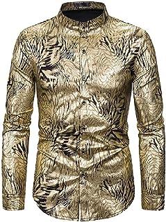 Abeaicoc Mens Printed Button Stylish Long Sleeve Luxury Gold Shirts
