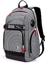 Swiss Digital Xavie Heather Grey Men's Urban Commuter Bluetooth Speaker Gaming Backpack, RFID Protection, Fits Laptops up ...