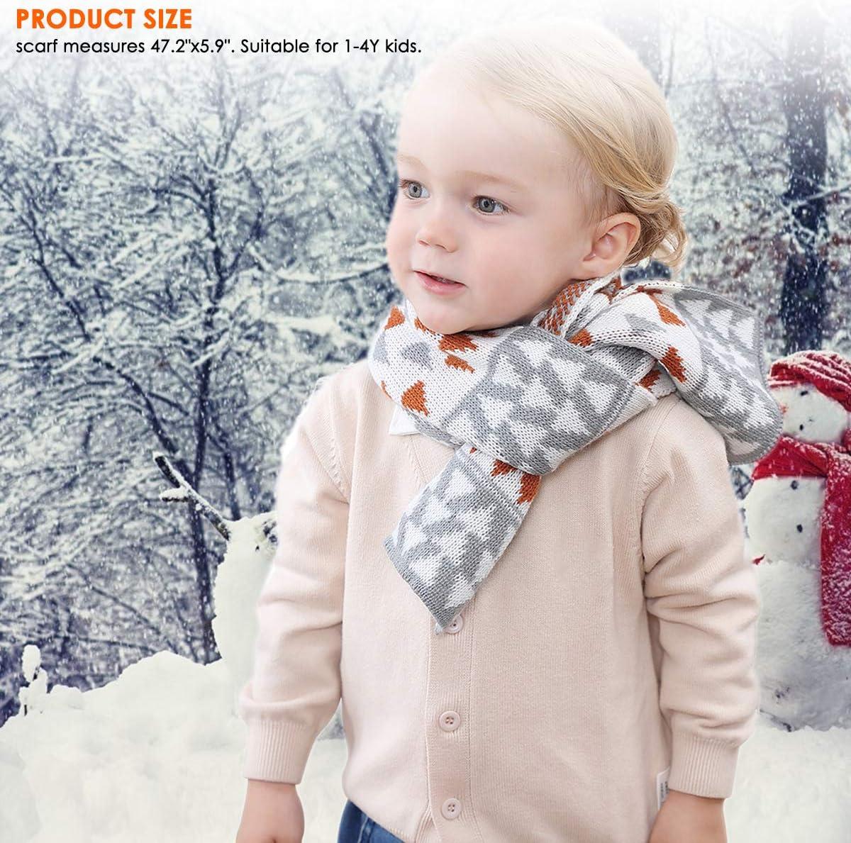 per bambini da 1 a 4 anni invernali OhhGo Set di 2 sciarpe per bambini a maglia
