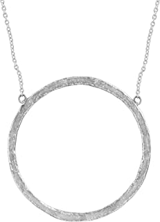 Duomo' Open Circle Necklace in Hammered Sterling Silver