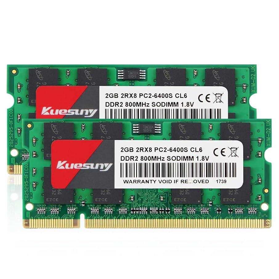 4GB Kit (2GBX2) DDR2 800 Sodimm RAM, Kuesuny PC2-6400/PC2-6400S 1.8V CL6 200 Pin Non-ECC Unbuffered Notebook Laptop Memory Modules