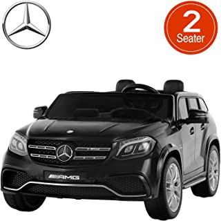 Uenjoy 2 Seater 12V Licensed Mercedes-Benz GLS63 AMG Kids Ride On Car Electric Cars Motorized Vehicles for Kids, with Remote Control, Music, Horn, Spring Suspension, LED Lights, Black