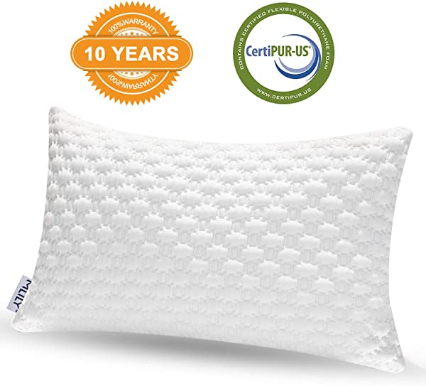 TONERONE Luxury Bamboo Shredded Memory Foam Pillow With Zip Cover And Adjustable Viscoelastic Sleeping Pillow CertiPUR US Approved Foam Filling Breathable Hypoallergenic Odor Free Washable