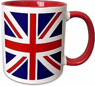 3dRose (mug_159852_5) British Flag - red white blue Union Jack Great Britain United Kingdom UK England English souvenir GB - Two Tone Red Mug, 11oz