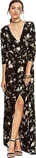 Women's Button Up Split Floral Print Flowy Party Maxi Dress
