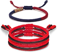 Yo-ike Tibetan Buddhist Woven Bracelets Mens Womens Lucky Red String Bracelets for Protection