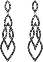 Flyonce Women's Crystal Wedding Fancy Interlocking Leaf Drop Chandelier Earrings Silver-Tone