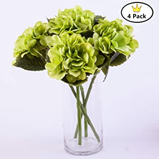 S.Ena, 6 Branch 30 Heads Artificial Silk Fake Flowers Leaf Hydrangea Wedding Floral Home Decor Bouquet Birthday Party DIY, Pack of 4 (Green)