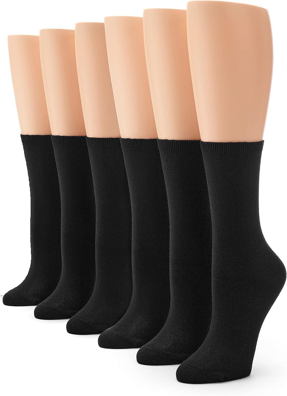 HUE womens Crew Sock, 6 Pair Pack