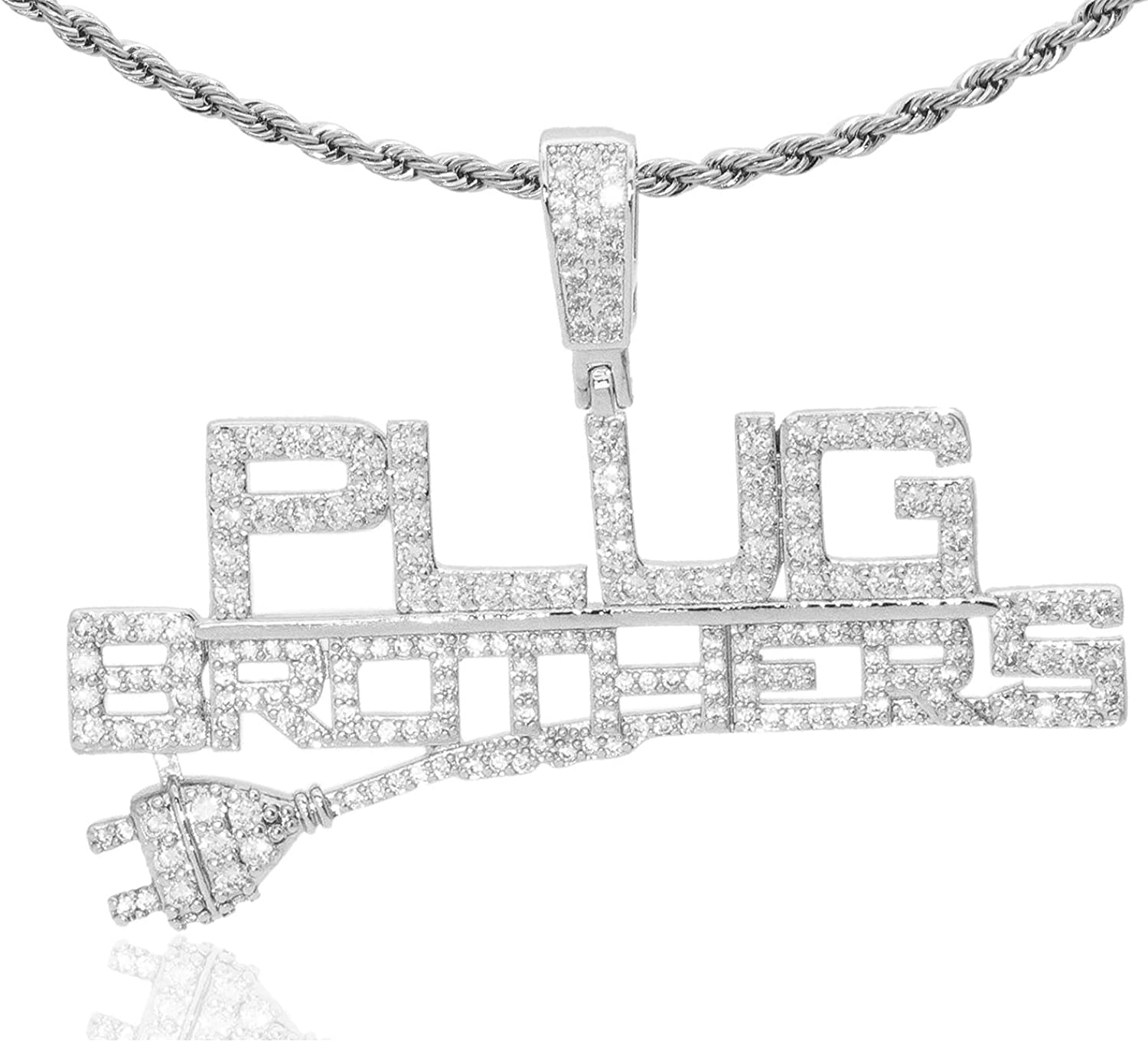 Nsitbbuery Hip Hop Night Club DJ Iced Out Letter Plug Pendant Stainless Steel Chain Necklace