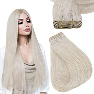 Sponsored Ad - Easyouth Sew in Hair Extensions Human Hair Color 1000 White Blonde 14 Inch 70g per Package Weft Hair Bundle...