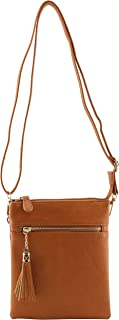 Vegan faux soft leather functional multi compartments crossbody bag with wristlet strap and tassels