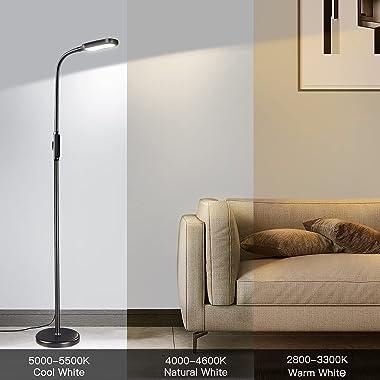 zanvia LED Floor Lamp with 5 Brightness Levels & 3 Color Temperatures, 1815 Lumens, Height Adjustable LED Floor Light, Di