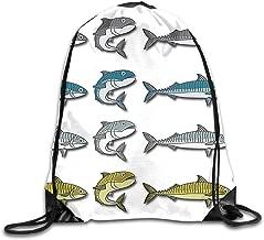YLMLMY Mackerel Vector Cartoon Illustration Drawstring Bag for Traveling Or Shopping Casual Daypacks School Bags