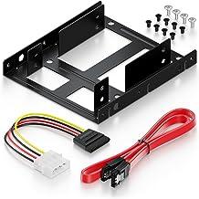 """deleyCON Einbaurahmen für 2,5"""" Festplatte SSD auf 3,5"""" - Adapter Festplatten Einbau Rahmen (bis zu 2X 2,5"""" Festplatten HDD oder SSD) Wechselrahmen Halterung"""